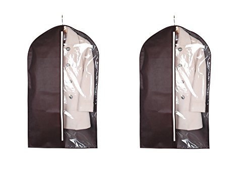 ITIDY Garment-Bags, Suit Covers, Breathable Clothing Storage Bags, Lightweight Coat Covers for Closet & Travel, Chocolate Colour with Practical Clear Window,Pack of 2