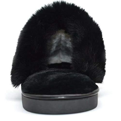 Fourrure Peluche Kuailu Cuir Femmes Pantoufles Mousse D'intérieur De Fausse Noir Laine Glissière Rembourrées Chaussures Aux En wqYAxOfq