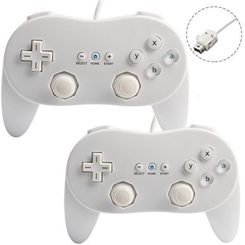 Cipon Wii Classic Controller Pro White for Nintendo Wii Standard Edition 2 Packs