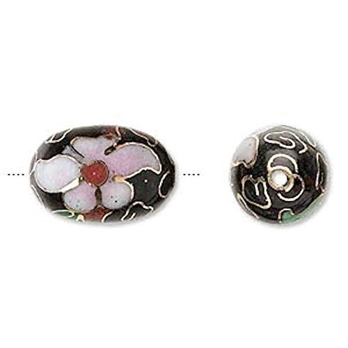 4 Gold Plated Black Pink Oval Cloisonne Beads ~ 18x12mm