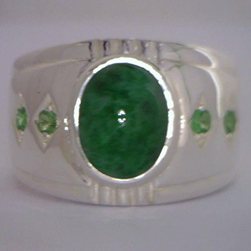 [Green Maw Sit Sit and Tsavorite Garnet Handmade 925 Silver Gents Ring size 10.75] (Tsavorite Green Garnet)
