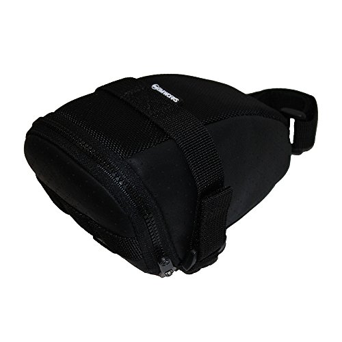 BM WORKS Mini Saddle Bag Black Perforated Leather - Beautiful Bicycle Seat Bag, Light Weight-75g only
