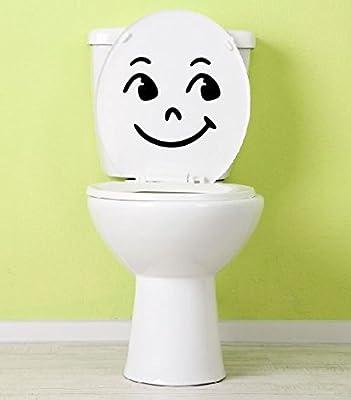 Dinger-Design Aufkleber Smiley Toilette lachendes Klo Klodeckel  Toilettendeckel 25 x 23 cm
