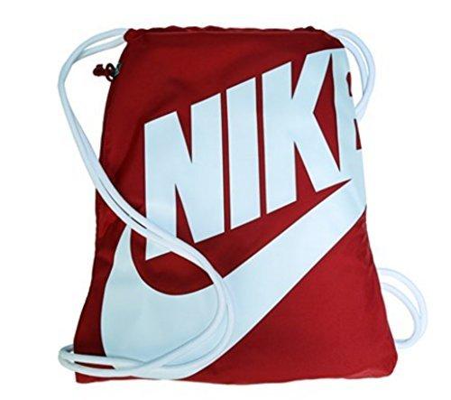 Nike Heritage Drawstring Gymsack Backpack 400 Denier Sport Bookbag (University Red with Signature White Swoosh) ()