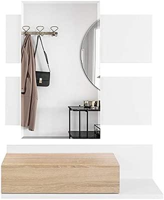 COMIFORT Recibidor Colgante - Mueble de Entrada con Cajón, Espejo y Estante de Estilo Nórdico y Moderno, Muy Resistente y Estable, de Color Blanco y ...