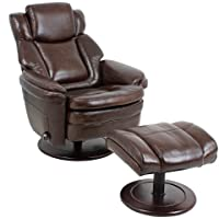 Barcalounger Eclipse II Pedestal Chair and Ottoman - Promenade Chocolate Leather / Vinyl
