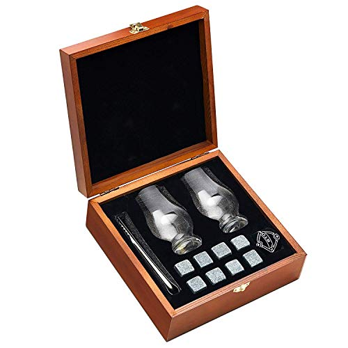 - Whiskey Stones and Whiskey Glass Gift Boxed Set - 8 Granite Chilling Whisky Rocks + 2 Crystal Glasses in Wooden Box - Great Gift for Father's Day, Dad's Birthday or Anytime For Dad