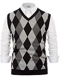 Mens Argyle Sweater Vest Casual V-Neck Pullover Vest