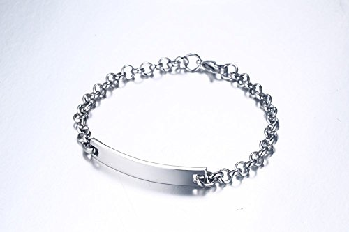 Free-Engraving Personalized Jewelry Stainless Steel ID Tag Name Initial Bar Bracelets for Women