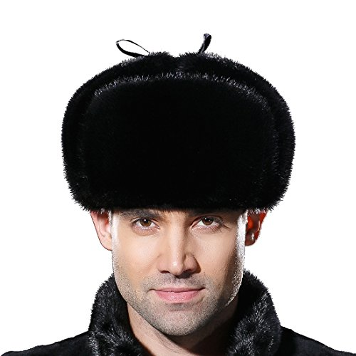 URSFUR Mens Russian Ushanka Hat Leather Winter Real Mink Fur Trapper Cap Black S