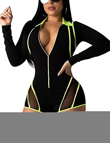 Mokoru Women's Sexy One Piece Club Outfits Front Zipper Bodycon Romper Shorts Jumpsuit Pants, Large, Fluorescent Green