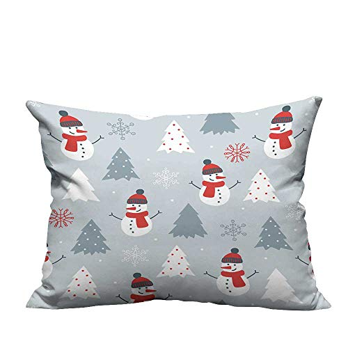 (YouXianHome Home DecorCushion Covers Christmas Seamless Pattern with Snowman,fir Trees and Snowflakes Perfect for Wallpaper Comfortable and Breathable(Double-Sided Printing) 20x35.5 inch)
