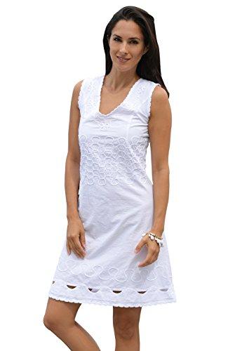 Cotton Natural Womens Knee Length Embroidered Peruvian Pima Cotton V Neck DressWhite Small (Cotton Pima Dress)