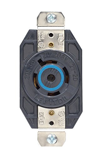 Leviton 2510 20 Amp, 120/208 Volt- 3PY, Flush Mounting Locking Receptacle, Industrial Grade, Grounding, V-0-Max, Black (Receptacle Flush Locking)