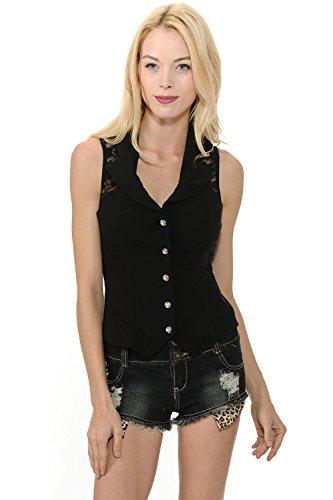 Sexy Rhinestone Button Spandex Sleeveless Collar Top with Back Lace (Medium, Black)