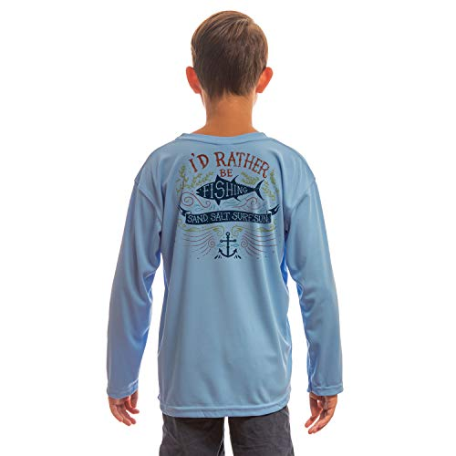 SAND.SALT.SURF.SUN. Colorful Rather Be Fishing Youth UPF 50+ UV Sun Protection Performance Long Sleeve T-Shirt Medium Columbia Blue