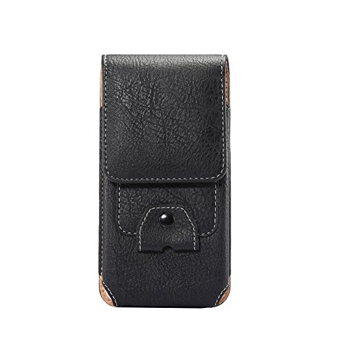 Yiakeng Hook up Premium Leather Pouch Case Holster Belt Loops Carrying Cover for Apple iPhone, Samsung, Moto, LG, ZTE, BLU,Android All Smartphone (Black) ()