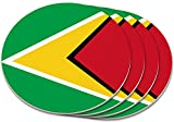 """Custom & Cool {4'' Inches} Set Pack Of 4 Round Circle """"Grip Texture"""" Drink Cup Coasters Made of Plastic w/ Cork Bottom w/ Guyana National Country Bold Flag Design [Colorful Red, Yellow & Green]"""