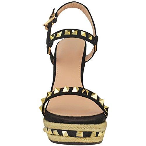 Sandalias De Cuña Con Tachuelas Para Mujer Sediento Moda Plataformas De Tiras Denim Summer Zapatos Tamaño Negro Faux Suede