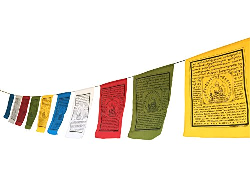 Handmade Large Cotton Medicine Buddha Prayer flags in Tibetan with English Translation