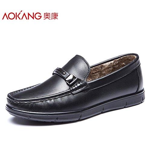 aemember Inverno Scarpe Per Uomini messo il piede all' uomo in cotone caldo scarpe scarpe di Hobby quotidiani, basso 41, nero