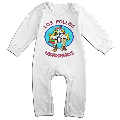 [KIDDOS Baby Infant Romper Los Pollos Hermanos Long Sleeve Jumpsuit Costume,White 18 Months] (Lil Teddy Bear Costume)