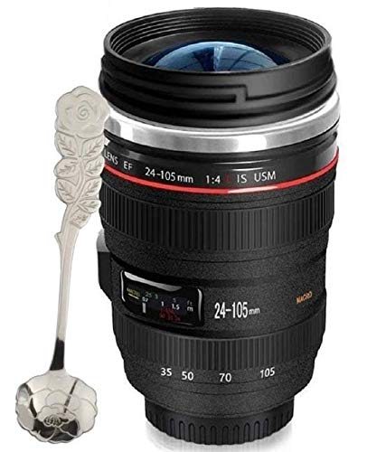 Coffee Mug - Camera Lens Travel Thermos - Stainless Steel Insulated Cup with Easy Clean Lid - 12oz Lens Coffee Mug Go with Premium Stainless Steel Spoon Best for Travel,Photographer Gift Chasing YEC
