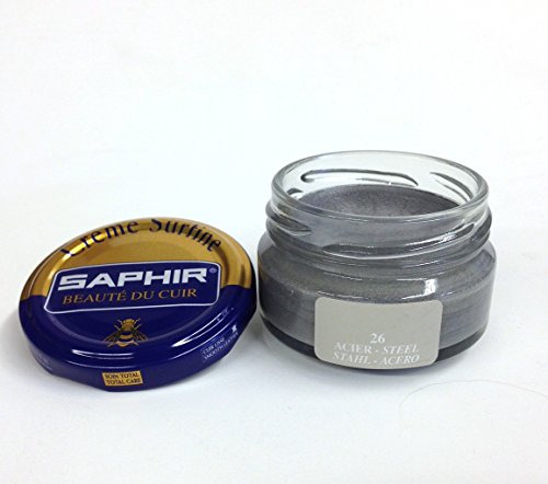Saphir Shoe Cream Beaute du Cuir Creme Surfine 50ml glass jar (Steel (Acero)) by Saphir (Image #1)