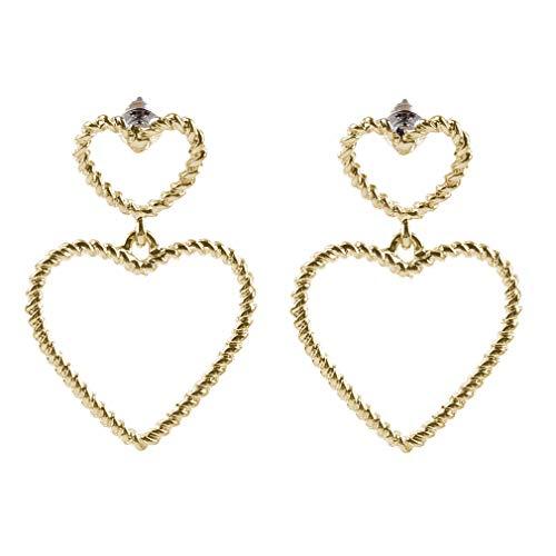 DearAnswer Double Hollow Sweet Heart Dangle Drop Stud Earrings Simple Twist Ear Stud Great Party Ornament,Gold