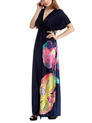 Feoya Robe de plage Femme Longue en Polyester Grande Taille Beachwear pour Vacances Rose/Taille L