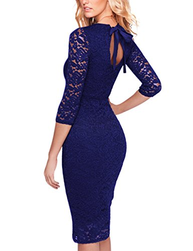 GlorySunshine Floral Lace Back Strap Bodycon Cocktail Party Dress for Women (M, ()