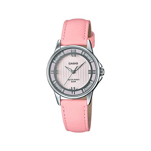 Casio LTP1391L-4A2V Women's Enticer Pink Leather Band Crystal Accented Pink Dial Analog Watch