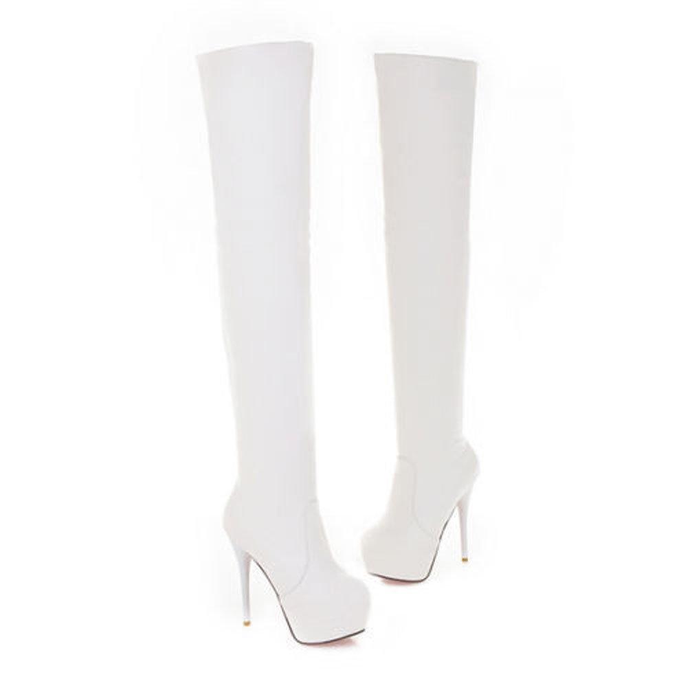 3ac3fe47e9aba7 F2 Overknee- Stiefel High Heel Stiefel Herbst Und Schlank Engen Stretch  Stiefel Winter Fashion Sexy Frauen Hohe Schuhe Plus Größe 36-43 weiße Farbe  (EU40