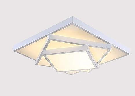 Style Home 54W LED Deckenlampe Für Wohnzimmer Schlafzimmer Kinderzimmer  Voll Dimmbar Mit Fernbedienung Weiß Quadratisch [