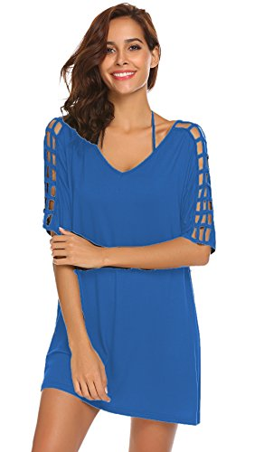 SimpleFun Women's Deep V-Neck Gridding Sleeve Loose Stylish Beach Swimsuit Bikini Cover Up Dress (S, Blue)