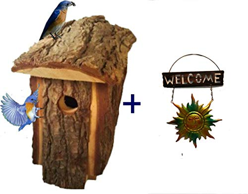 Bluebird House for Outside Wooden Handcrafted Made of Pine with Outdoor Home Ornament