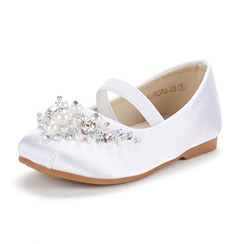 DREAM PAIRS Big Kid Aurora-03 White Glitter Girl's Mary Jane Ballerina Flat Shoes Size 4 M US Big Kid White Flat Heel