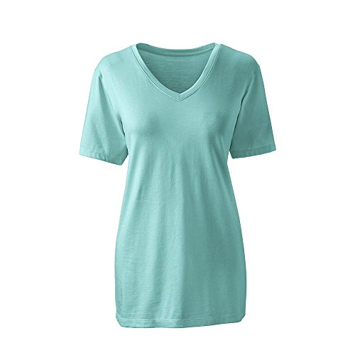 Lands' End Women's Petite Relaxed Short Sleeve Supima Cotton V-Neck T-Shirt, M, Seafoam Blue