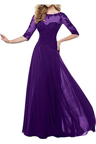 Spitze Festlichkleider Lila Langarm Abendkleider Blau Brautmutterkleider Charmant Damen Bodenlang Dunkel Damen Etui wqIw7a