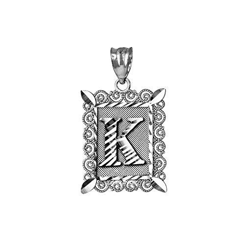 LA BLINGZ 14K White Gold Filigree Alphabet Initial Letter K DC Pendant (S/L) (Small)