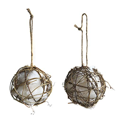 Ambears&D Wild Bird Nest Helper Grapevine Globes with Pure Cotton for Hummingbird Nesting - All Natural Songbird Nesting Material (Nester)