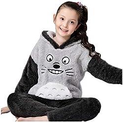 Pijamas dos Piezas Pijamas niñas Terciopelo Coral Pijamas Muchachos Servicio de casa de Invierno Ropa de Abrigo Traje de la Hermana Lindo Gato Pijamas y Batas (Color : Black, Size : 160cm)