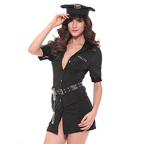 (SS Queen Women Sexy Police Costume Dirty Cop Officer Uniform Deputy Halloween Masquerade)