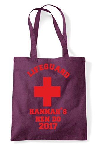 Tote Design Personalised Shopper Bag Plum Party Do Lifeguard Hen Customised SWOYqI67