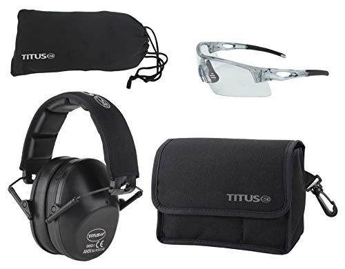 Titus TOP Slim-Line Safety Glasses and Earmuff Combos (Black, G20 Clear w/All-Sport Frame)