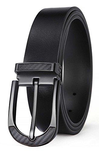 Men's Belt,Bulliant Leather Belt for Men with Pin Buckle 1 3/8,Trim to (Pin Belt)