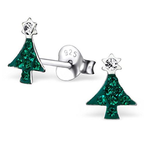 Amazon Com 925 Sterling Silver Green Crystal Christmas Tree