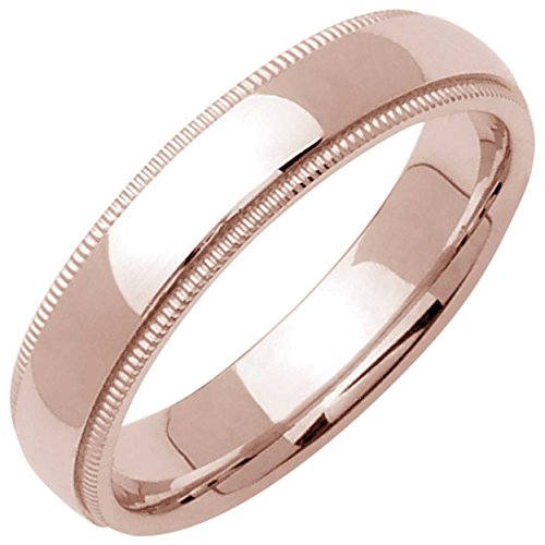 14K Rose Gold Traditional Milgrain Edge Women's Comfort Fit Wedding Band (5mm) (5mm Edged Band Ring)