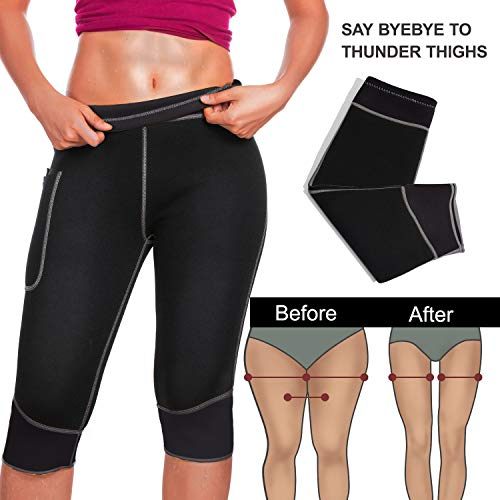 Womens Weight Loss Hot Neoprene Sauna Sweat Pants with Side Pocket Workout Thighs Slimming Capris Leggings Body Shaper (Black, M) by TrainingGirl (Image #2)