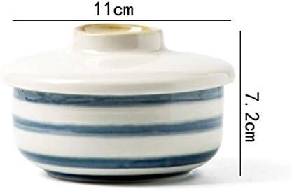 Liuyu Kitchen Home 5,2 pouces Peint à la main avec couvercle Soupe Bol Bouche à visage Boîte à lunch Souper Basin Personnalité Accueil 250 ml